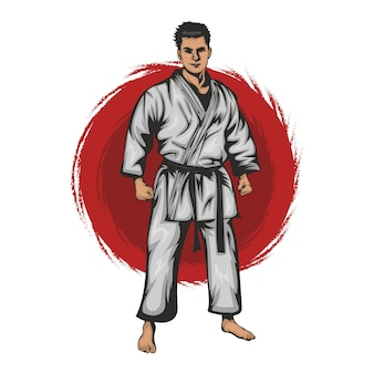 Ein karate-ritter bereitet sich auf den kampf vor