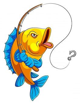 Ein karikaturfisch, der angelrute hält