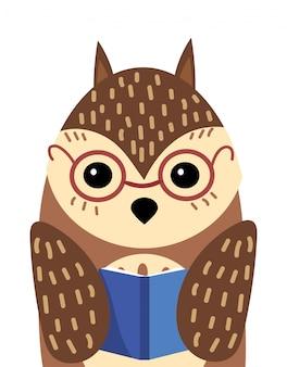 Ein karikaturporträt einer eule mit einem buch. illustration eines vogels für eine postkarte.
