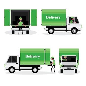 Ein karikatursatz des logistikgeschäfts, das einen mann mit lieferwagen zeigt