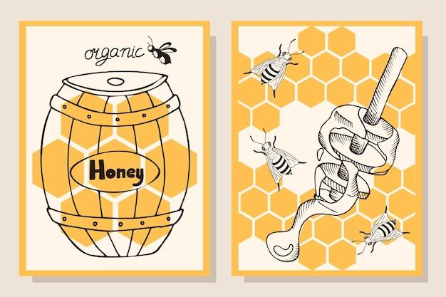 Ein kartensatz mit bienenwaben, ein fass honig im gravurstil