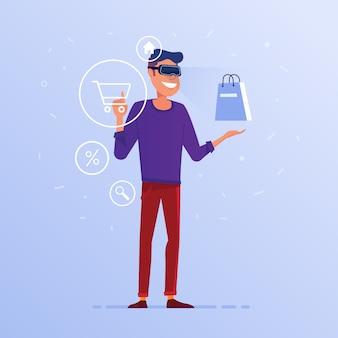 Ein kaukasischer mann im vr-kopfhörer, der das on-line-einkaufen tut.