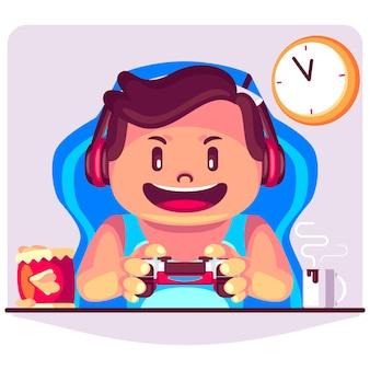 Ein kerl, der videospielkarikaturillustration spielt