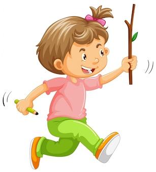 Ein kind, das an hand mit stock läuft