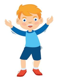 Ein kind, das tanzt, rüttelt seine hand
