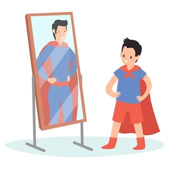 Ein kind schaut in einem superheldenanzug in den spiegel vor einem spiegel