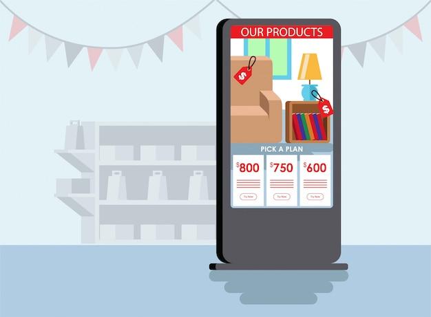 Ein kiosk-bildschirm zeigt einige flache produktauswahlillustrationen an