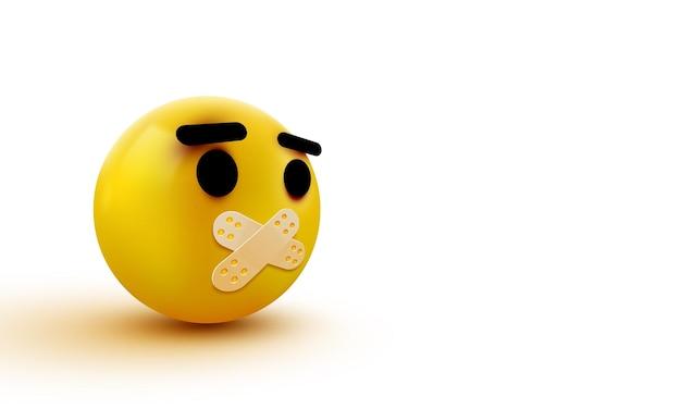 Ein klebriger mund-emoji isoliert auf weißem hintergrund