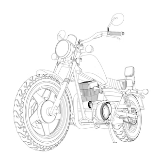 Ein kleiner chopper ist ein klassiker. schwarz-weiß-vektor-illustration mit höhenlinien.