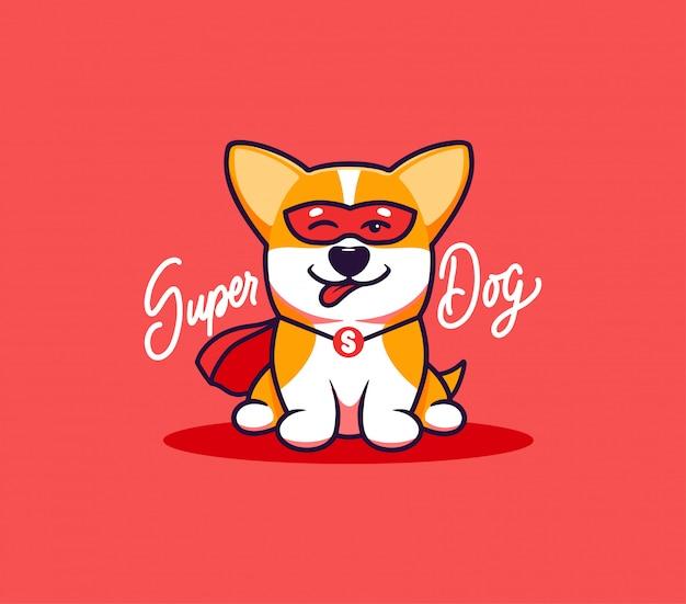 Ein kleiner hund, logo mit text super dog. lustige corgi-zeichentrickfigur