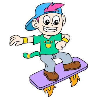 Ein kleiner junge auf einem rakete fliegendes skateboard, doodle zeichnen kawaii. vektorillustrationskunst