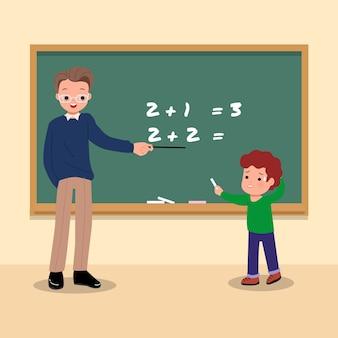 Ein kleiner junge hat angst und ist verwirrt, als er von seinem lehrer gebeten wird, die frage an der kreidetafel zu beantworten. mathe klassenzimmer situation. stil.