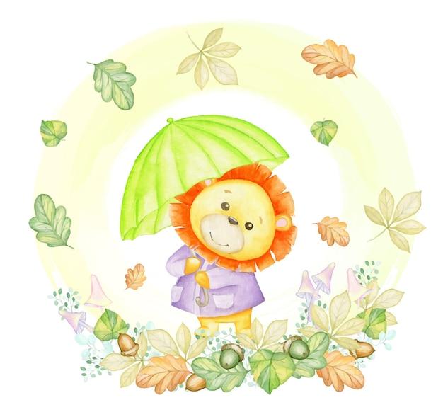 Ein kleiner löwe mit grünem regenschirm auf einem hintergrund von herbstblättern, pilzen und pflanzen. ein aquarellkonzept