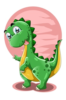 Ein kleiner niedlicher dinosaurier mit rosa hintergrundtier