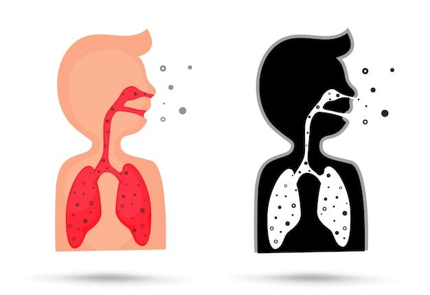 Ein kleiner staub aus giftigen dämpfen kann beim einatmen die lunge schädigen