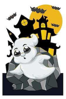 Ein kleiner süßer geist weiß in der halloween-nacht
