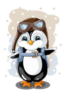 Ein kleiner süßer kleiner pinguin mit brille und rucksack