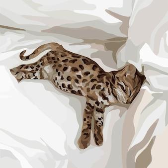 Ein kleines kätzchen mit leopardenmuster liegt im bett. vektor-modeillustration