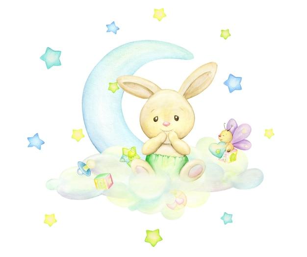 Ein kleines kaninchen, das auf einer wolke vor dem hintergrund des mondes und der sterne sitzt. aquarellkonzept und isolierter hintergrund in weichen tönen.