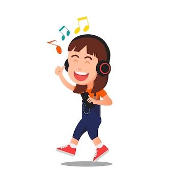 Ein kleines mädchen, das glücklich musik hört Premium Vektoren
