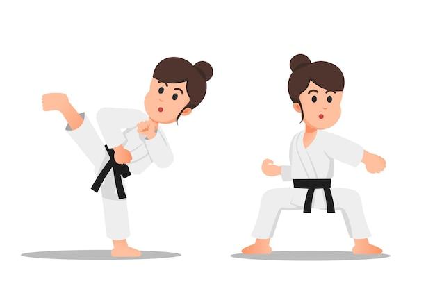 Ein kleines mädchen mit ein paar karate-moves