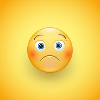 Ein kleines trauriges gesicht aus emoticons mit leichtem stirnrunzeln und neutralen augen auf gelbem grund. ein trauriger kleiner mann