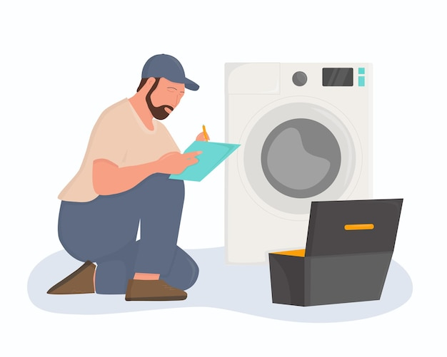 Ein klempner repariert eine waschmaschine. flache abbildung