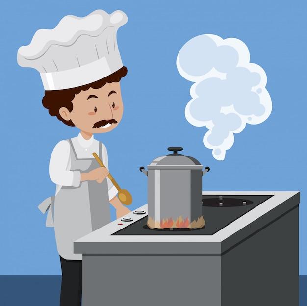 Ein koch, der mit schnellkochtopf kocht