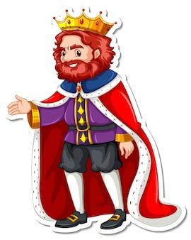 Ein könig mit rotem gewand-cartoon-charakter-aufkleber