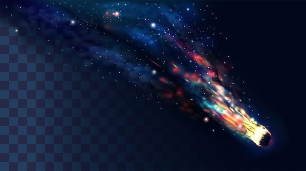 Ein komet oder asteroid mit durchsichtigem rauch.