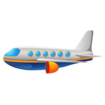 Ein kommerzielles flugzeug auf einer weißen rückseite