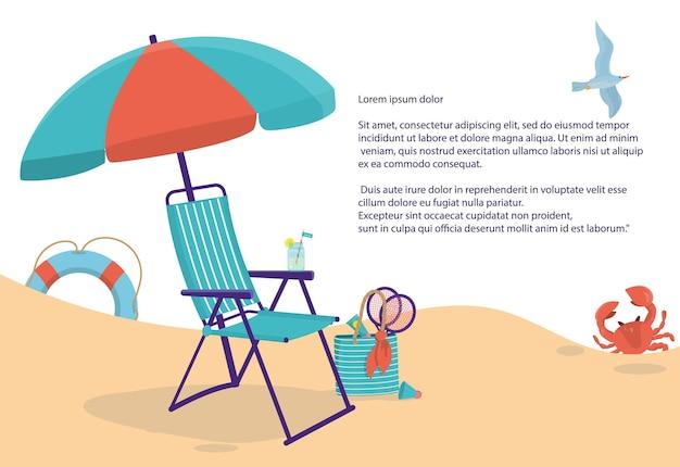Ein konzept im strandstil mit einer chaiselongue und anderen sommerartikeln mit platz für ihren text.