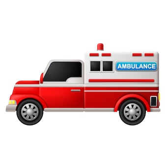 Ein Krankenwagen auf einem weißen Hintergrund