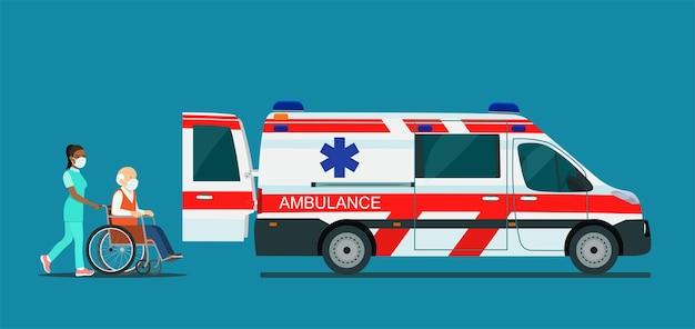 Ein kranker älterer mann mit maske wird in einen krankenwagen gebracht. vektor-illustration.
