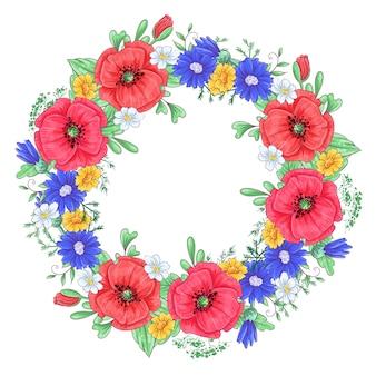 Ein kranz aus roten mohnblumen und gänseblümchen.