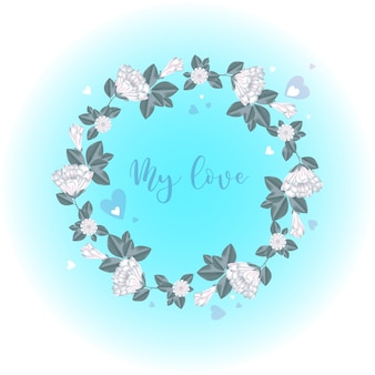 Ein kranz aus weißen blüten und knospen mit herzen.