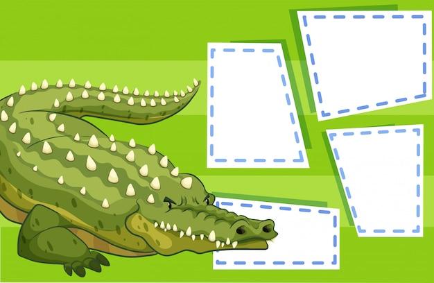 Ein krokodil auf leere notiz