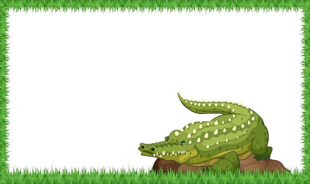 Ein krokodil auf naturrahmen