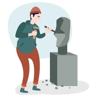 Ein kunstarbeiter schnitzt einen stein, der in einer internationalen ausstellung ausgestellt wird