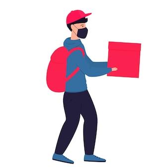 Ein kurier in einer medizinischen schutzmaske hält pakete in seinen händen. kostenlose lieferung von lebensmitteln.