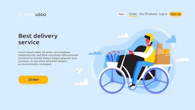 Ein kurier mit gelbem helm fährt mit dem fahrrad, um die pakete zu liefern. landing page
