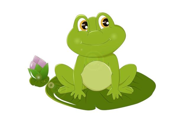 Ein lächeln des grünen frosches mit den braunen augen auf der lotuspflanze, entwurfstierkarikaturillustration