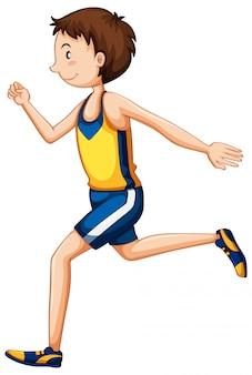 Ein läufercharakter auf weißem hintergrund