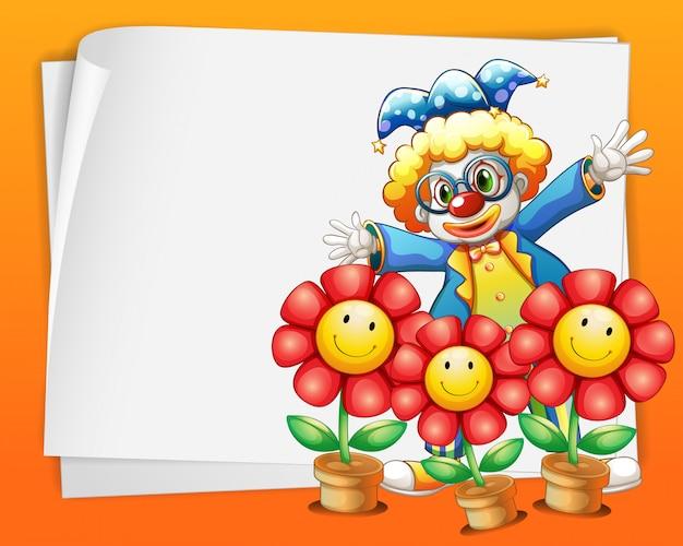 Ein leeres papier mit einem clown und töpfen blumen