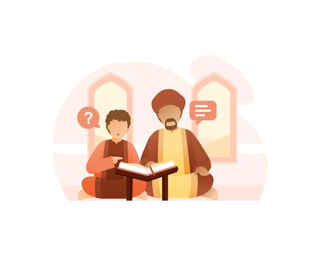 Ein lehrer bringt seinem sohn bei, den koran zu lesen