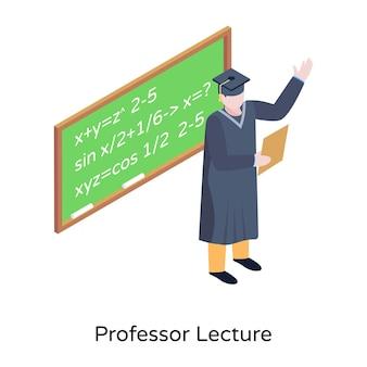 Ein lehrer, der isometrisches symbol für mathematikvorlesungen hält
