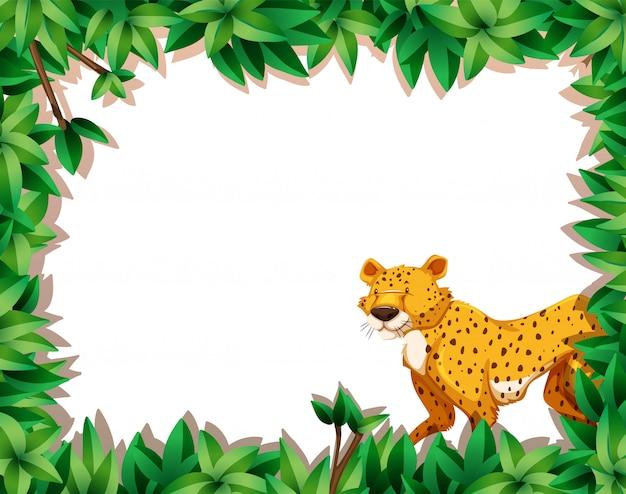 Ein leopard auf naturrahmen