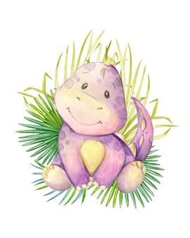 Ein lila gefärbter dinosaurier, der auf einem hintergrund aus tropischen blättern sitzt. aquarell, tier, karikaturart, auf einem isolierten hintergrund, für kinderdekor.