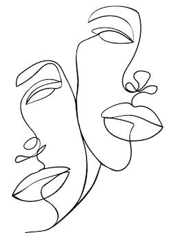Ein line-art-paar. valentinstag-illustration. liebesplakat. zwei gesichter. - vektor-illustration