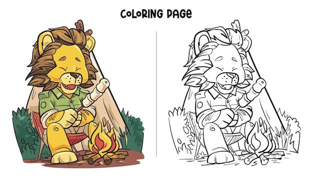 Ein löwe genießt es, marshmallow zu braten